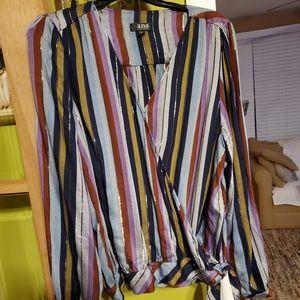 Ana, xl long sleeve stripe blouse